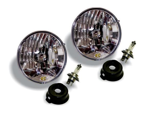 """KC HiLiTES7"""" Headlight - H4 Halogen - 2-Lights - 55W / 60W DOT Headlight - Universal / fits 97-06 Jeep TJ"""