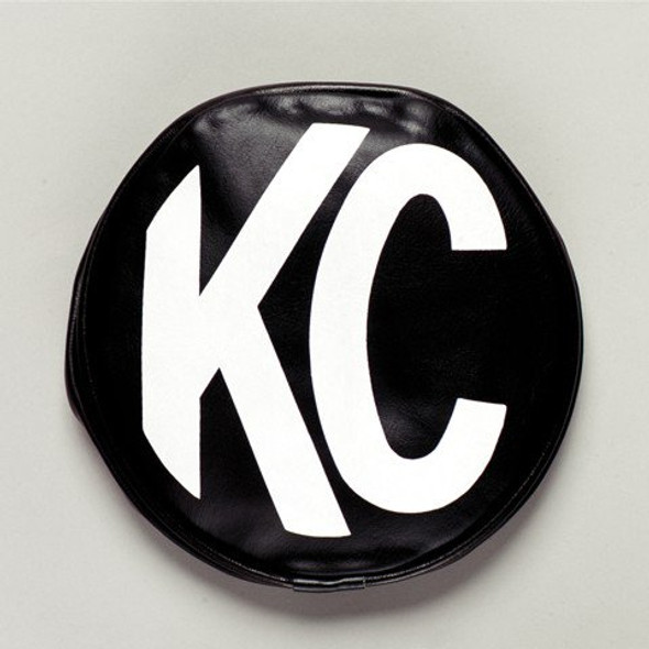 "KC HiLiTES8"" Light Cover - Round - Soft Vinyl - Pair - Black / White KC Logo"