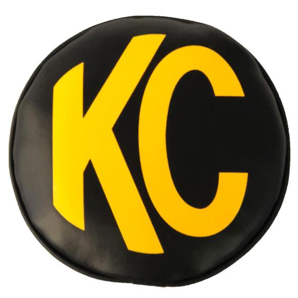 "KC HiLiTES8"" Light Cover - Soft Vinyl - Pair - Black / Yellow KC Logo"