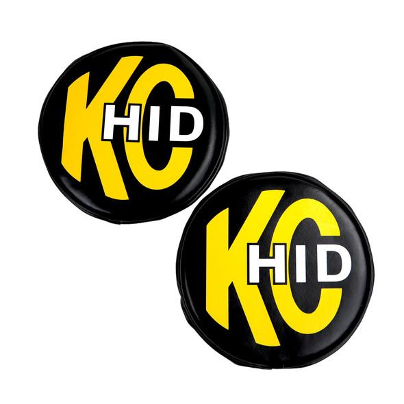 "KC HiLiTES8"" Light Cover - Soft Vinyl - Pair - Black w/ Yellow KC HID Logo"