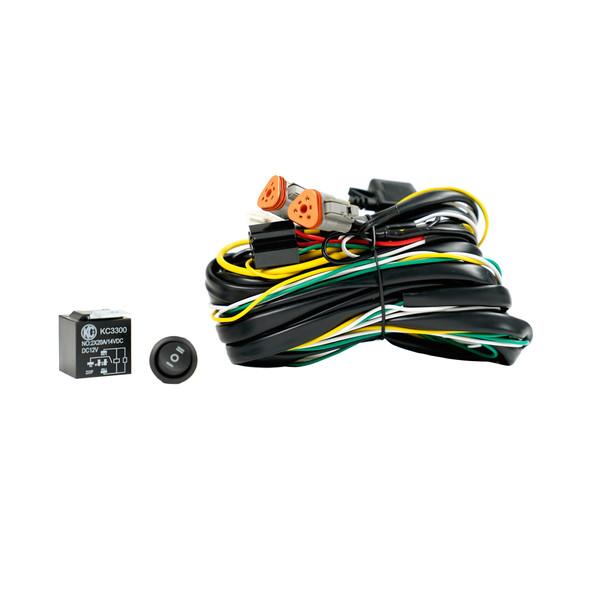 KC HiLiTESWiring Harness -  FLEX ERA - 40 Amp Relay - 3 Position LED Rocker Switch - 3-Pin Deutsch Connectors