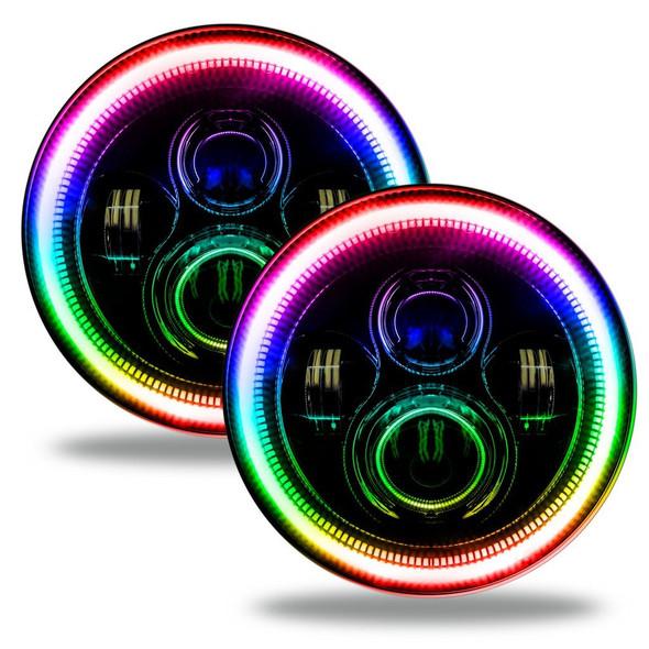 Oracle ColorSHIFT LED Headlights, Black Bezel, Jeep JL/JT