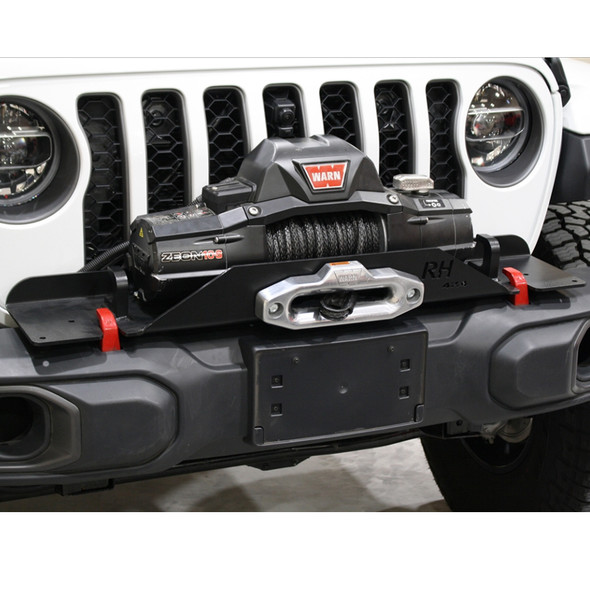 Rock Hard 4x4 Winch Plate for Factory Plastic Front Bumper, Jeep Wrangler JL / Gladiator JT