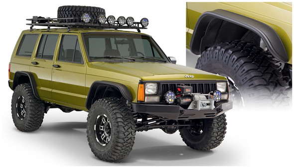 Description: Be ready for anything - equip your Jeep Cherokee with Bushwacker Flat Style Fender Flares. They're the first and only flat style flares made to absorb impact, using our proprietary Dura-Flex® 2000 TPO - the thickest, most flexible material available. Flat Style Fender Flares maximize your tire coverage and wheel articulation for severe off-road use. Yet they're carefully engineered to install with a minimum of extra tools and bodywork (see the installation guide for your specific vehicle for details). For example, our mounting brackets bolt straight onto your Jeep for added strength and simpler fitting.Our design integrates neatly with the factory rocker guards and fully molded wheel well protection. The flares are 100% UV protected, too, to stop chalking in its tracks. If you want the look - and the real-world performance - that best fits an American icon, nothing goes with your Jeep better than Bushwacker Flat Style Fender Flares.Highlights: Adds up to 4.5 in. of tire coverage from debrisInstalls easily with minimal drilling or cuttingOEM textured black finish has an OE-quality styleTrail ready UV protected Dura-Flex® 2000 TPOMade in the USA with a Limited Lifetime WarrantyFront Pair Part # 10063-07Rear Pair Part # 10064-07Fitment Note: Not compatible with models that have had Cut-Out Flares previously installedFront Flare Tire Coverage: 4.50 in.Rear Flare Tire Coverage: 3.25 in.Front Flare Height: 4.50 in.Rear Flare Height: 3.25 in.Front Aftermarket Bumper Compatible: YesRear Aftermarket Bumper Compatible: YesBushwacker products are designed to be installed by everyday people, incorporating full color images and easy-to-follow steps in a simple Acrobat PDF file that makes the process a fun project!The number 1 installation rating is our easiest rating, requiring simple tools, minimal time, and little to no experience with modifying your vehicle. If you can change your wiper blades, you can do this with no sweat. All number 1 install ratings require n