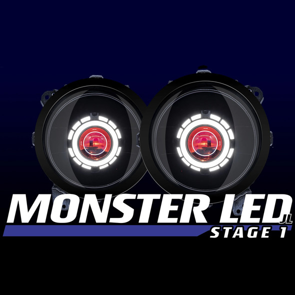 "HID Projectors 9"" Monster Stage 1 Bi-LED Projector Headlights, Jeep Gladiator JT/Jeep JL"