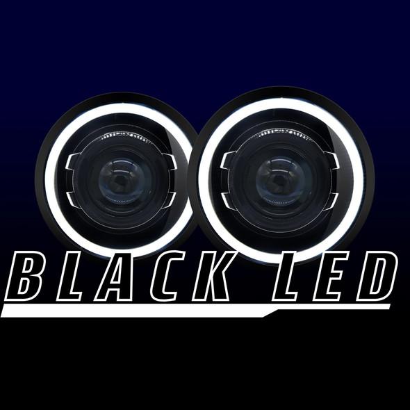 HID Projectors Halo Black Series LED Projector Headlights, Jeep Wrangler JK
