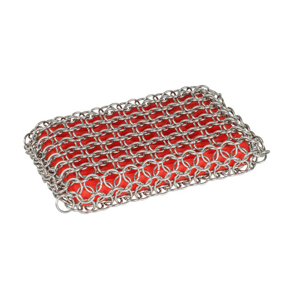 Lodge Silicone & Chainmail Scrubbing Pad for Cast Iron, Red