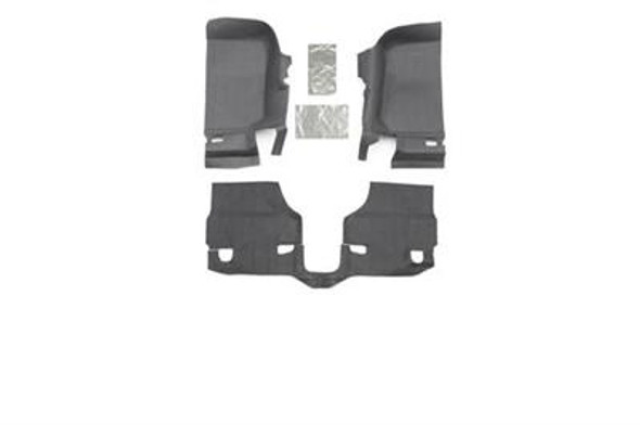 This fully custom-molded die cut system provides a rugged spray-in look in minutes without the need of any labor intensive prepping or removal of seat brackets or center console. Sold as a separate front and rear kits, individual pieces can be quickly removed and hosed off after a long day on the trail if desired. The BedTred material is 100% waterproof, won't absorb water, and will never stain, stink, mold or mildew; dries quickly and resists all harsh chemicals. The 1/4-inch thick 100% polypropylene foam insulates your interior from road noise and heat. Bedrug does not recommend additional mats and liners because the nibs on the back of mats or liners will not grip, but rather slide on the BedTred material.2007-10 Jeep JK Wrangler and Rubicon2-door models3 piece frontIncludes heat shields100% Polypropylene waterproof spray-in lookUV and fade resistantQuick and easy installation3-year warrantyInstalls in an hourHook and loop fasteners (velcro)Made in the USA