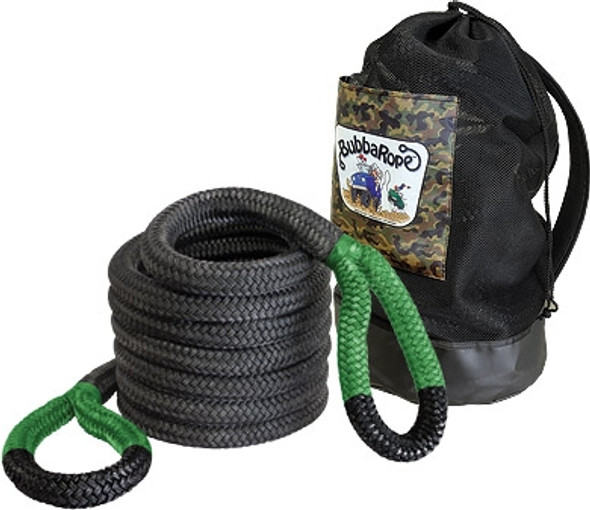 """Breaking Strength: 74,000 lbs.1-1/2"""" x 30' — Jumbo Bubba is a mega snatch rope. This rope is so strong it can safely pull a full size dump truck out of the muck! Monster trucks, this is the rope for you! Comes with its own mesh duffle bag for easy carrying and storing.Jumbo Bubba Standard Eye Color: Green"""