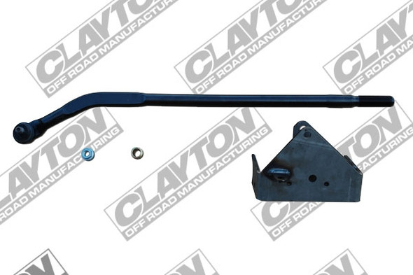 This high steer kit was designed to correct steering geometry with a lifted Jeep Wrangler JK. The kit was designed to be used with the Clayton Off Road 3.5 and 4.5 inch lift kits and welding is required to install this kit. The kit also raises the trackbar and will add clearance between the trackbar and differential cover. It also strengthens the trackbar bracket by bolting our ¼ bracket and welding it to the front axle. Note - This new ¼ trackbar bracket is designed to be bolted into the stock location, then welded for superior strength. It also incorporates a new relocated lower swaybar mount. This bracket was designed to be installed with the three (3) supplied 3/8 bolts, and one (1) 9/16 bolt with spacer and allows for temporary driving without welding. Basically you can drill and install this kit in your driveway, then drive to a certified welder, and have him weld both sides of the bracket. Parts List : · OEM style drag link · CNC machined insert · Metric locknut · ¼ trackbar bracket · 9/16 grade 8 bolt with spacer · (3) 3/8-16 grade 8 bolt, lock washer and nut Tools Required: · Welder · Grinder · ½ electric drill with 7/8 drill bit · standard hand tools to remove and install bolts