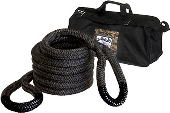 "Breaking Strength: 131,500 lbs.2"" x 30' — The Extreme Bubba is ideal for safely recovering heavy-duty vehicles such as tractors, semis and dump trucks from sticky situations! Extreme Bubba comes with a special velcro web strap for handy carrying. Extreme now comes with a Extreme Bubba gear bag (32"" x 12"" x 16"").Extreme Bubba Standard Eye Color: Black"