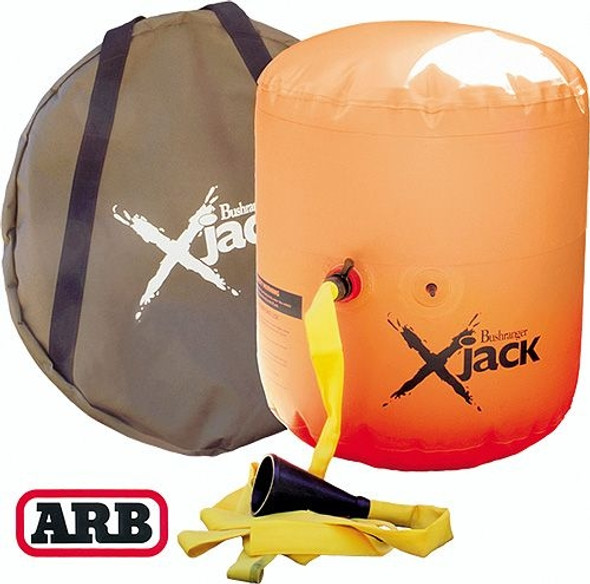 The jack is inflated via a hose that connects to the vehicle's tailpipe. As soon as the vehicle's engine is started, the jack will start to inflate. When developing this product, the design engineers recognized that conventional jacks were not suited to all types of terrain. In unstable areas of mud, sand and snow, the X-Jack offers a wider footprint to avoid sinking, and uses specially designed, triangular shaped feet to keep the unit firmly grounded. For ease and greater stability, the X-Jack is designed to be safely placed under the side of the body rather than positioned under an axle like a traditional jack. With a triple layer top and hard core insert for added protection and stability, this jack incorporates a unique two way inflation system. This means that either the exhaust or a portable air compressor can be used, providing added control in determining the rate and extent of lift. Collapsing flat for convenient storage, the X-Jack is ideal for all off road trips.