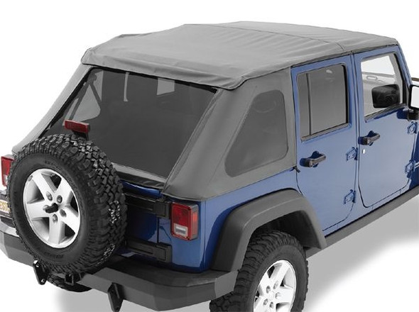 Want to add a fresh new look to your Wrangler? Here's a great way to do just that! Introducing the new Frameless Softop from Bestop®, the Trektop NX! No bulky hardware is required for installation of this unique softop. Trektop NX Includes factory style door surrounds and features an easy flip back canopy for instant open air driving. For appearance and durability, the premium fabric maintains shape in any temperature. The fabric is mildew-resistant and contains UV inhibitors and includes tinted rear and side windows. Rear and side windows are easily removed for Safari bikini style driving.Two-year limited warranty. New - easily installed soft top without bow system OE premium fabric that maintains its shape in any temperature, mildew resistant, contains UV inhibitors Door surrounds included with kit Tensioning bow included with kit Tinted windows included with kit Tailgate Bar and Retaining Clips included with kit Removable side windows and rear curtain Easy installation (no bows)