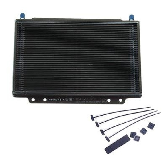 "The last thing you need in the middle of a race or a road trip is to have a transmission or engine go south because your oil cooler can't keep up. B&M's SuperCooler oil coolers will keep your transmission or engine cool and running in your time of need. They're made of lightweight aluminum, with an efficient ""stacked plate"" design. Multiple cooling paths give them the cooling capacity of larger fan-and-tube coolers. And, because they have a low pressure-drop design, there is less oiling-system restriction.Overall Height (in) 8.500 in. Overall Width (in) 11.250 in. Overall Thickness (in) 1.000 in. Cooler Construction Plate Cooler Material Aluminum Inlet Size 3/8 in. Inlet Attachment Hose barb Outlet Size 3/8 in. Outlet Attachment Hose barb Number of Cooling Rows 36 Core Height (in) 7.000 in. Core Width (in) 11.250 in. Core Thickness (in) 1.000 in. Cooler Finish Black painted Quantity Sold individually. Notes Fittings and hose included with kit."