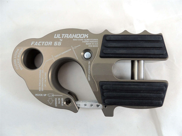 """The world's safest winch hook.Featuring Industry first Closed System Shackle Mount hole machined into the body of the hook, safety latch retraction pocket resulting in a clear throat opening, integrated secondary safety latch locking feature-latch locking pin stored in the body of the UltraHook which can be removed and inserted in to the hook tip, locking the latch into place.EPDM rubber pads for fairlead protection, titanium double shear pin, and a finger grip feature that promotes proper """"Hook Up"""" orientation.The first winch hook that can be stored against your fairlead protecting either your hawse or roller style fairlead from a metal to metal connection.Made in USAU.S. Utility Patent No. 9,388,025Foreign Patents Pending*SOME IMAGES SHOW OPTIONAL FACTOR 55 XXL ROPE GUARDROPE GUARD SPECS:The Rope Guard for the FlatLink XXL or Ultrahook. For you hardcore off-roaders and off-road trainers, the new Rope Guard provides complete synthetic rope protection from damaging UV light as well as impact and abrasion damage. As you can see, when using the Rope Guard, all exposed synthetic rope surfaces are positioned behind the guard and fairlead, allowing you to use the Rope Guard as a skid surface when attempting to climb tall vertical obstacles.Made from Kaiser billet 6000 series aluminum and clear anodized for corrosion protection. Easy DIY installation with 4 drive rivets.Engineered and Made In The USA.We recommend that the FlatLink or UltraHook first be removed from your winch line prior to the Rope Guard installation. Then, remove all rubber pieces from your FlatLink or UltraHook product. A little prying from a flat blade screwdriver should do the trick in popping out the rubber barbs. You will need to reinstall two of the rubber pieces after the Rope Guard installation is completed. We recommend that you place the FlatLink on top of a piece of wood on the ground or workbench surface prior to hammering in the drive rivets. Be sure to orient the Rope Guard in the correct d"""