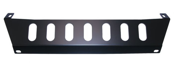 """This skid plate attaches to the back of bumper mounts and to the front factory crash bar. The skid plate is made of 3/16"""" steel and matches the jeeps front grill. It uses the stock crash bar for its strength and adds a great look to your jeep."""