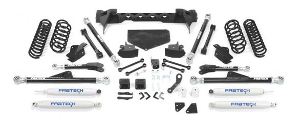 "For JK owners that require the ultimate in offroad performance Fabtech offers a 5"" Crawler system that will allow use of 37"" tall tires for aggressive offroad use. The front system features a conversion from the factory 4 link arms to our proven Radius Arm design. The adjustable Radius Arm links are constructed of 5/16"" thick steel for maximum dent resistance with rotational urethane joints at each end for unrestricted articulation. These new Radius Arms mount to a 1/4"" thick steel crossmember that bolts to the frame under the transmission. The front steering geometry is relocated via a dropped pitman arm. A Trac Bar relocation bracket keeps the arc of travel between the Trac Bar and Drag Link proper to reduce bump steer throughout the suspension travel. Lift is accomplished with replacement coil springs or a Coilover Conversion system with Dirt Logic 2.5 Coilovers for maximum performance both on and offroad. The rear system retains the factory 5 Link design but with extended length lower tubular arms that bolt to new side frame brackets. Installation of these frame brackets does not require the removal of the gas tank or welding. The upper links are replaced as well with a tubular style in the factory mounts. Both upper and lower links feature 5/16"" thick wall links with adjustable rotational urethane ends. The rear Trac Bar is properly relocated to keep the rear axle tracking with the front axle for superior road handling at high speed. For increased ground clearance at the rear axle, we provide replacement shock mounts that allow trimming of the factory mounts. This allows an additional 1"" of ground clearance over the factory mounts. We offer heavy duty replacement driveshafts to be used with this system for maximum driveline reliability."