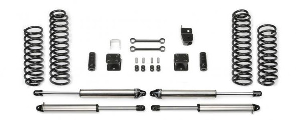 """Fabtech offers a 3"""" Budget System for Jeep JK's that includes four American made Coil Springs that have been designed to clear 35"""" tall tires. The Coil Springs are specific to 2 or 4 door models and undergo a """"preset"""" manufacturing process to insure a consistent ride height. System also includes front and rear Shocks, front Sway Bar Links, front Bump Stops, rear Bump Stop extensions, Rear Trac Bar bracket rear Brake Hose extension, Emergency Brake cable brackets all in one box. This System will increase offroad capabilities and provide a good highway ride."""