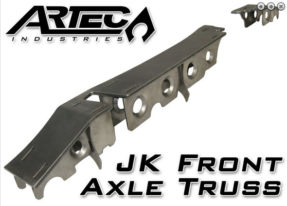 "This heavy duty and light weight truss system and armor is designed to take serious abuse and reinforce your front Dana 30 or Dana 44 JK axle. The 1/4"" thick truss top and 10Ga. gusseting incorporates a unique design to strengthen both axle tubes, not just the long tube (commonly found in ""other"" designs). The precision cut and formed components of this setup ensure a hassle-free installation. NOTE: This kit requires general welding and fabrication skills including welding to the cast center section. Welding should only be done by a competent welder. Artec Industries implies no guarantees or warranties and is not liable for improper installation. *Some grinding and fitment may be required when installing this kit. Every axle varies slightly and some fabrication may be required.1/4"" and 10 gauge (.130"") mild steel. Precision CNC cut and bent for great fitment.* Truss is low profile to allow clearance above the axle. Truss spans length of long side AND short side. Truss is reinforced using interlocked 10 gauge thick gussets for maximum strength and easy assembly. Overall low profile design means your axle is stronger, sleaker, easier to fit into any vehicle, and less likely to interfere with vehicle components."