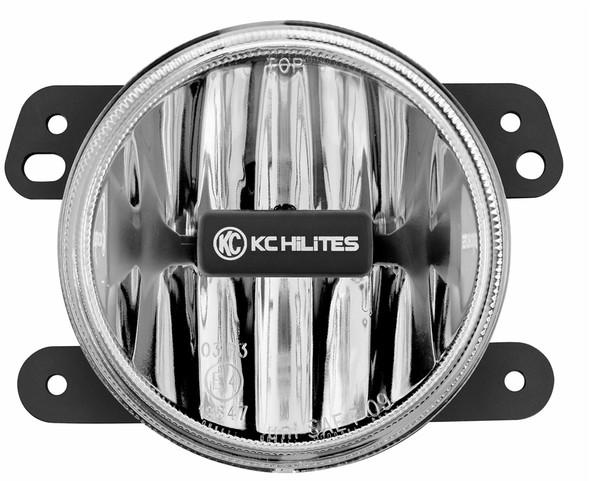 "KC HiLiTES Gravity LED G4; 4"" Round LED Replacement Single Fog Light for 2007-2009 Jeep JK - KC HiLiTES #1494 (Clear)"