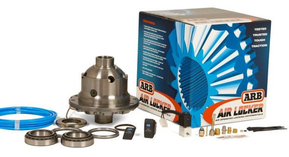 Locking differentials have been available for years, but were always a compromise: performing well either off the road or on the road - but not on both. The ARB Air Locker provides normal differential action on the street - maintaining safe, predictable handling. An ARB Air Locker differential will drive out of the most difficult situations. (24) Months Limited Warranty. Here's how it works: The ARB Air Locker is an air-operated, driver-controlled differential locker activated by pushing a dash-mounted button. When engaged, compressed air, delivered by the ARB (12-volt) on-board air compressor is passed via a 12-volt solenoid down an air line into the differential housing. Air travels into the differential center via a specially designed seal housing which seals against an extended bearing with air fitting. Through air galleys, the compressed air enters the piston chamber & actuates the piston and clutch gear, moving the gear into the locked position. The clutch gear now locks the side gear to the differential housing, instantly stopping differential action. Differential is now locked, and both axles will deliver traction. To disengage the differential, push the dash mounted switch again. It releases the compressed air via the solenoid and the piston springs return to the original position. Differential is then open again, allowing full, standard differential action. ARB Air Locker only takes a split second to engage, making it the only real driver-controlled differential locking system on the planet. Parts Included Locking Differential Carrier Bearings Switch Air Line Solenoid Fits These Vehicles 07-09 Jeep Wrangler 2-Door (JK) 07-09 Jeep Wrangler Unlimited 4-Door (JK)Provides 100% traction on demand without affecting on road drivability or driveline wear. Vastly improved traction means less reliance on momentum, thus reducing the likelihood of vehicle damage and environmental impact. Easy, convenient operation allows the user to concentrate on the terrain without 