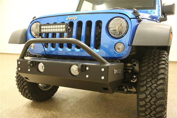 "Aluminum Rock Hard 4x4 Grille Width ""Stubby"" Front Bumper for Jeep Wrangler JK 2/4DR 2007 - 2018"