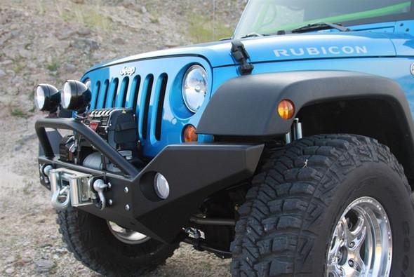 Aluminum Rock Hard 4x4 Full Width Front Bumper w/ Lowered Winch Mount for Jeep Wrangler JK 2/4DR 2007 - 2018