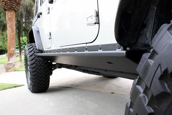 Rock Hard 4x4 Boat Side Rock Sliders w/ Smooth Plate for Jeep Wrangler JK 4DR 2007 - 2018