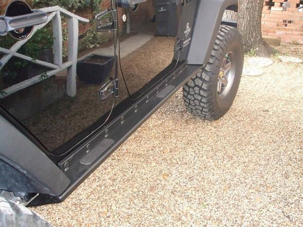 Rock Hard 4x4 Boat Side Rock Sliders w/ Tread Plate for Jeep Wrangler JK 4DR 2007 - 2018