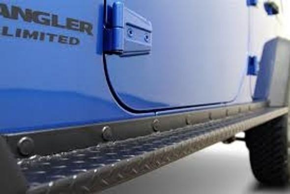 Rock Hard 4x4 Boat Side Rock Sliders w/ Tread Plate for Jeep Wrangler JK 2DR 2007 - 2018