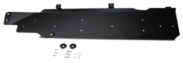 """Rock Hard 4x4 JK Aluminum Gas Tank Skid is made of 1/4"""" aluminum. Laser cut & CNC bent for a perfect fit. Solid protection for the weight conscious Jeep owner. Comes powder coated black with a slight texture. Fits Jeep JK 4 Door 2007-2018."""