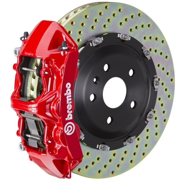 Product Description: (F) 6-Piston Monobloc Calipers | 380x34mm (15') 2-Piece Discs | Complete Axle Set | Pre-Assembled | All Necessary Hardware IncludedWheel Fitment: Brake Profile Cross SectionFront or Rear System Shown: FrontIntended Use:StreetTrackRace System Dynamics: Notes: Brembo GT Systems are designed for vehicles at original ride height. Increased ride height is not compatible with the brake lines included in these systems.Caliper Body: Cast Monobloc Radial MountCaliper Piston Configuration: 6-PistonCaliper Piston Design And Insert Type: Inner Pressure Seal / OEM Approved Dust BootDisc Type: Cross DrilledSlottedType 3Disc Material/Finish: Advanced High Carbon Alloy / Corrosion Resistant PlatingDisc Diameter: 380mmDisc Width (Measurement): 34mmDisc Air Gap (Measurement): 14mmDisc Annulus (Measurement): 62mmDisc Construction: 2-Piece Disc AssemblyDisc Vane Design (Measurement): Vented Curved 48 VaneDisc To Hat Mounting System: Floating H-Bobbin with Anti Rattle SpringFriction MaterialPad Compound: Brembo High Performance FM1000Pad Volume / Surface Area: 107.3 | 95.4Brake Lines: Proprietary Brembo Stainless Steel Braided Brake Lines by GoodridgeMounting Hardware: Brembo Engineered CNC Billet Caliper Adapters - All Necessary Hardware Included For Ease of Installation