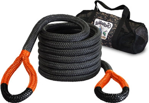 """Breaking Strength: 52,300 lbs.1-1/4"""" x 30' — This rope is custom made for mud boggin'. Great for full-size trucks and large SUVs, this monster snatch rope features a breaking strength of over 52,300 pounds, making it the safest of its kind! Length is determined before rope is under load.Big Bubba Standard Eye Color: Orange"""