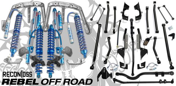 "Recon DSS 2.5 12"" Front w/ 2.5 14"" Rear Coilovers & Teraflex Alpine Long Arm Suspension Conversion For Jeep Wrangler JK 2007-2018"