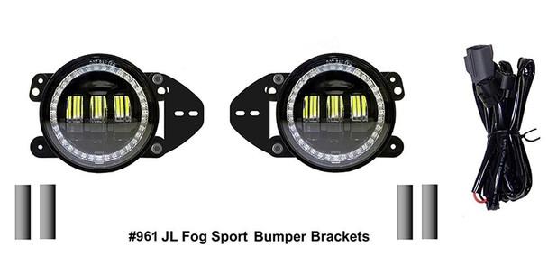 Quake LED Jeep Wrangler JL/Gladiator 4 Inch Fog Lights w/ White DRL Halo/Amber Turn Signal