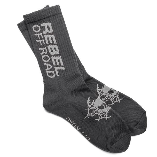 Rebel Off Road All-Terrain Men's Socks, Black, Gray Block Logo
