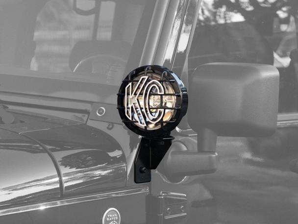 KC HiliTES WINDSHIELD SIDE MOUNT LIGHT BRACKET FOR JEEP JK (2007-2015) - BLACK - KC HiLiTES #7317