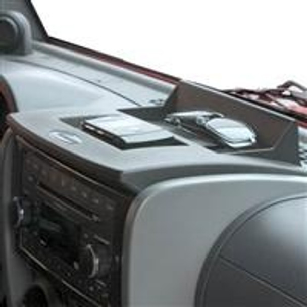 * 2007-10 JK Wrangler, Rubicon and Unlimited * Factory fit and finish This new dash panel will directly replace the existing OE dash panel allowing you a place to hold your cell phone, GPS unit, sunglasses, etc.