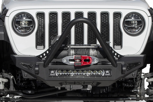 """Give your Jeep Wrangler JL a transformed look with our Stinger front bumper for the Jeep JL. The stinger winch front bumper looks good with any aftermarket fenders you put on your Wrangler. With greater approach angle to maximize offroad performance and two different style hoop options for front end protection, the Rock Fighter front bumper for the Jeep JL gives your Jeep style and functionality.A patented universal light mount system in the center of the bumper allows mounting of any brand and size of light up to a 20"""" radius light bar or up to 5 cube lights. Additional lighting can be added to the top corners of the Rock Fighter bumper with mounts for 2 cube lights per side. Two clevis mounts on the front of the Rock Fighter front bumper accept a 3/4"""" D-Ring and are reinforced to help out in tough situations.Winch mountStinger hoopUniversal light mount - 20"""" radius bar or 5 cube lightsRadius steel plate designGreater approach angleAvailable with top hoop or stingerReinforced clevis mounts accept a 3/4"""" D-RingFour cube light mounts on top corners100% bolt-onProudly made in AmericaINSTALLATION INSTRUCTIONS"""
