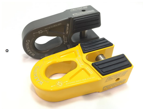 The FlatLink E (Expert) is a variation of our popular foldable standard FlatLink winch shackle mount. The FlatLink E provides a means to eliminate the conventional winch hook and replace it with a safer and more secure screw pin shackle resulting in a CLOSED SYSTEM WINCHING operation. The large pear shaped shackle mounting hole allows for attachment to either the pin or bow end of common screw pin shackles, as well as common OEM recovery points. This makes the new FlatLink E more versatile than the current FlatLink design, but it also adds the possibility of a dangerous shackle side loading condition (See Picture), especially during momentary slack conditions. A shackle side loading condition is not possible with our standard FlatLink shackle mount due to the shackle pin mounting constraint. For the recreational off roader we highly recommend the safer standard FlatLink product, not the FlatLink E. This way the winch operator does not have to monitor whether the shackle may have shifted and rotated in the recovery tackle. The FlatLink E is only available in the Military Specification Anodizing (Mil-A-8625 F Type III) hard anodized gray finish.Conventional winch hooks can cut and fray recovery straps and often allow strap ends to escape during momentary slack cycles of a typical winching recovery. Screw pin shackles do not allow strap loops to escape due to their secure screw pin attachment. The FlatLink E does not require splicing and is compatible with steel cables or synthetic ropes up to 3/8 inches in diameter. The cable eye is retained in the FlatLink E by a 5/8 inch diameter 6Al4V Titanium double shear pin and internal snap ring. Installation takes only minutes. The EPDM Rubber Guards protect alloy fairleads and are securely attached to the FlatLink E with 4 barbed tips each. The FlatLink E stows neatly against either roller or Hawse type fairleads and is designed to be used with common 3/4 inch shackles.MADE IN THE USAU.S. Utility Patent No. 9,388,025MADE IN T