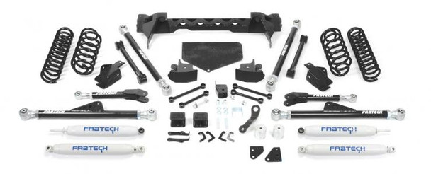 "For JK owners that require the ultimate in offroad performance Fabtech offers a 5"" Crawler system that will allow use of 37"" tall tires for aggressive offroad use. The front system features a conversion from the factory 4 link arms to our proven Radius Arm design. The adjustable Radius Arm links are constructed of 5/16"" thick steel for maximum dent resistance with rotational urethane joints at each end for unrestricted articulation. These new Radius Arms mount to a 1/4"" thick steel crossmember that bolts to the frame under the transmission. The front steering geometry is relocated via a dropped pitman arm. A Trac Bar relocation bracket keeps the arc of travel between the Trac Bar and Drag Link proper to reduce bump steer throughout the suspension travel. Lift is accomplished with replacement coil springs or a Coilover Conversion system with Dirt Logic 2.5 Coilovers for maximum performance both on and offroad. The rear system retains the factory 5 Link design but with extended length lower tubular arms that bolt to new side frame brackets. Installation of these frame brackets does not require the removal of the gas tank or welding. The upper links are replaced as well with a tubular style in the factory mounts. Both upper and lower links feature 5/16"" thick wall links with adjustable rotational urethane ends. The rear Trac Bar is properly relocated to keep the rear axle tracking with the front axle for superior road handling at high speed. For increased ground clearance at the rear axle, we provide replacement shock mounts that allow trimming of the factory mounts. This allows an additional 1"" of ground clearance over the factory mounts. We offer heavy duty replacement driveshafts to be used with this system for maximum driveline reliability.Kit# K4040Use 37/12.50R17 tires w/ 17x8.5 wheels w/ 5"" BS w/ minor trimmingOty Part # Description1 FTS24083BK Component Box 11 FTS24084BK Component Box 21 FTS24085BK Coil Box Kit2 FTS7188 Front Performance Shocks2 FTS6002 Rear Performance Monotube ShocksOrder required Accessories1 FTS94057 Front Driveshaft 2 & 4 Door Models1 FTS94051 Rear Driveshaft 2 Door Model only1 FTS94052 Rear Driveshaft 4 Door Model Only*Kit Price does not Include Drive Shafts"