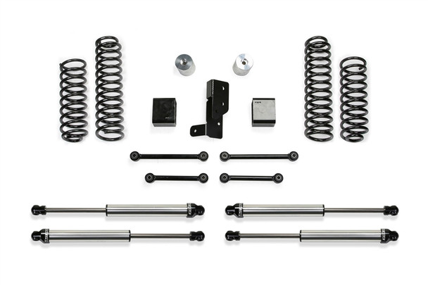 """The Sport system features American made coil springs that are a Dual Rate design allowing for long travel suspension use offroad with a smooth highway ride.The first stage of the spring provides a soft ride with the ability to extend for additional travel. The second stage is designed to handle the payload of the vehicle and address large impact absorption at higher speeds.The Dual Rate coil springs are corner specific to the JL. This keeps the vehicle level side to side while allowing for increased suspension travel.Four bump stops extensions utilize the factory bump stops for compliant cushioning at full compression. The extensions retain the stock down travel to eliminate over cycling of the suspension and driveline.The extended length front and rear sway bar links with urethane bushings re-position the bars to work within the factory operating planes. By extending the length of the links, it prevents the sway bar from going over center and creating bind at full extension travel.A heavy duty rear track bar bracket re-centers the axle while retaining the factory roll center of the vehicle with the increased ride height.OTY PART # DESCRIPTION1 FTS24207 3"""" SPORT SYSTEM2 FTS811402 FRONT DIRT LOGIC 2.25 SHOCK2 FTS811412 REAR DIRT LOGIC 2.25 SHOCKFOOTNOTES121. Fits 6 CYL. models only.185. Fits 4-door models only."""