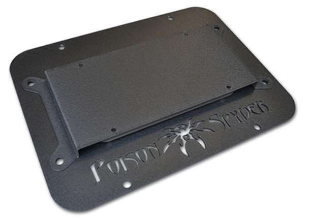 Poison Spyder JK Tire Carrier Delete Plate II (Wide Vent) with License Plate Mount - 18-04-012
