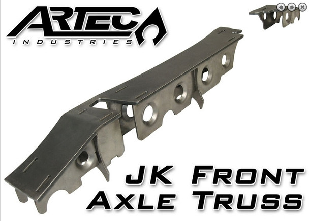 """This heavy duty and light weight truss system and armor is designed to take serious abuse and reinforce your front Dana 30 or Dana 44 JK axle. The 1/4"""" thick truss top and 10Ga. gusseting incorporates a unique design to strengthen both axle tubes, not just the long tube (commonly found in """"other"""" designs). The precision cut and formed components of this setup ensure a hassle-free installation. NOTE: This kit requires general welding and fabrication skills including welding to the cast center section. Welding should only be done by a competent welder. Artec Industries implies no guarantees or warranties and is not liable for improper installation. *Some grinding and fitment may be required when installing this kit. Every axle varies slightly and some fabrication may be required.1/4"""" and 10 gauge (.130"""") mild steel. Precision CNC cut and bent for great fitment.* Truss is low profile to allow clearance above the axle. Truss spans length of long side AND short side. Truss is reinforced using interlocked 10 gauge thick gussets for maximum strength and easy assembly. Overall low profile design means your axle is stronger, sleaker, easier to fit into any vehicle, and less likely to interfere with vehicle components."""