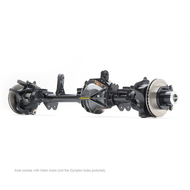 The Dynatrac ProRock 60 was the first of its kind when it was unveiled in 2002. Today, it's the off-road performance standard to which all other Dana 60 based axles are compared. And now you can have the legendary strength and durability of a Dynatrac ProRock 60 for your 2007-2018 Jeep JK at the lowest price ever offered with this specially configured, completely assembled front axle.Here are the details of this specific axle configuration:Custom Machined Dynatrac ProRock 60 High-Ground Clearance, High-Pinion Front AxleHeavy-Duty Nodular-Iron ProRock 60 HousingPro 60 Knuckles with Elevated Tie-Rod Position for Best Ground ClearanceAlloy-steel End ForgingsWheel End Kits with Dynatrac Stub Hub and Heat-Treated Chromoly Spindles for Ultimate Outer Axle Strength Kept Tucked Tight Inside the WheelsWarn Locking HubsExtreme-Duty Right-hand Arm with Heavy-Duty Tie Rod (uses stock drag link)Standard Lifted JK Housing Geometry and Pinion AngleDynatrac Heavy-Duty Raised Track Bar Bracket (not shown in photo)68.5-inch Axle WidthHeavy-Duty 3.125-inch Diameter, 0.500-inch Wall Draw-Over-Mandrel (DOM) Axle TubingDynatrac 3/16-inch JK Coil Spring Suspension Bracket Assembly Kit, InstalledPro Rock 60 Nodular Iron Diff Cover, InstalledARB Air Locker, 35 Spline, Installed, with ARB KitRing & Pinion, 9.75-inch Diameter, Reverse-cut, 5.38 Ratio, InstalledDynatrac JK Pro Series 60, 35-Spline 1.5-inch Front Inner and Outer Axleshaft Assembly Kit with 1480 U-Joints, InstalledDynatrac JK ABS/ESP Sensor Mount and Billet Tone Ring, InstalledBig Brake 13.10-inch Rotors with Dual-Piston Brake Calipers1350 U-bolt Style Driveshaft Input YokeNew, OEM Ball Joints, InstalledNew, OEM Upper Control-Arm Bushings, InstalledAxle is Detailed and Painted Dynatrac Gloss BlackAxle Oil Installed100% Made in the USAExclusive Dynatrac 1-year No-Fault, Unlimited-Mileage WarrantyThe axle comes assembled. All you need to do is bolt it under your Jeep JK.NOTE: Axle comes with Warn hubs (not the DynaLoc hubs picture