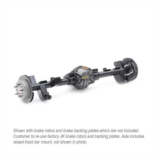 The Dynatrac ProRock 60 was the first of its kind when it was unveiled in 2002. Today, it's the off-road performance standard to which all other Dana 60 based axles are compared. And now you can have the legendary strength and durability of a Dynatrac ProRock 60 for your 2007-2018 Jeep JK at the lowest price ever offered with this specially configured, completely assembled semi-float rear axle.Here are the details of this specific axle configuration:Custom Machined Dynatrac ProRock 60 High-Ground Clearance, High-Pinion Semi-Float Rear AxleHeavy-Duty Nodular-Iron ProRock 60 HousingSuperior Lightweight Semi-Float Axle DesignStandard Lifted JK Housing Geometry and Pinion Angle68.5-inch Axle WidthHeavy-Duty 3.125-inch Diameter, 0.313-inch Wall Draw-Over-Mandrel (DOM) Axle TubingDynatrac 3/16-inch JK Rear Coil Spring Suspension Bracket Assembly Kit, InstalledPro Rock 60 Nodular Iron Diff Cover, InstalledDynatrac Heavy-Duty Raised Track Bar (not shown in photo)Dynatrac Pro 60 Dual Sump/High Volume (DSHV) High Pinion Oil Seal Modification, InstalledARB Air Locker, 35 Spline, Installed, with ARB KitRing & Pinion, 9.75-inch Diameter, Reverse-cut, 5.38 Ratio, InstalledDynatrac JK Pro Series 60, 35-Spline 1.5-inch Rear Axleshaft Assembly Kit, InstalledNew Billet Tone Rings Already Installed on the AxleshaftsDynatrac Billet Axleshaft Retainers with Studs - Always Insist on Dynatrac Retainers. Our Studs Will not Strip and Spin Like Other RetainersAxleshafts are Drilled for both 5 on 5 and 5 on 5 1/2 inch Wheel Bolt Pattern; Comes with Studs Installed in 5 on 5 1/2 Bolt PatternLarge Tapered Roller Axle BearingsDynatrac JK ABS/ESP Sensor Mount, InstalledAxle is Detailed and Painted Dynatrac Gloss Black100% Made in the USAExclusive Dynatrac 1-year No-Fault, Unlimited-Mileage WarrantyThe axle comes assembled. All you need to do is bolt it under your Jeep JK and re-use your stock rear disc brakes. Or you can upgrade to the Dynatrac ProGrip Brake System for a serious improvement in st