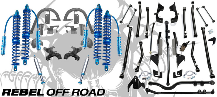 "Recon Complete Front 12"" Rear 14"" 2.5 Coilover & Teraflex Alpine Long Arm Suspension Conversion For Jeep Wrangler JK 2007-2018"