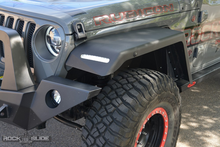 Rock-Slide Engineering Front Fender Flares For Jeep Wrangler JL Full Length (w/ OEM LED) - C-FF-102-F-JLA