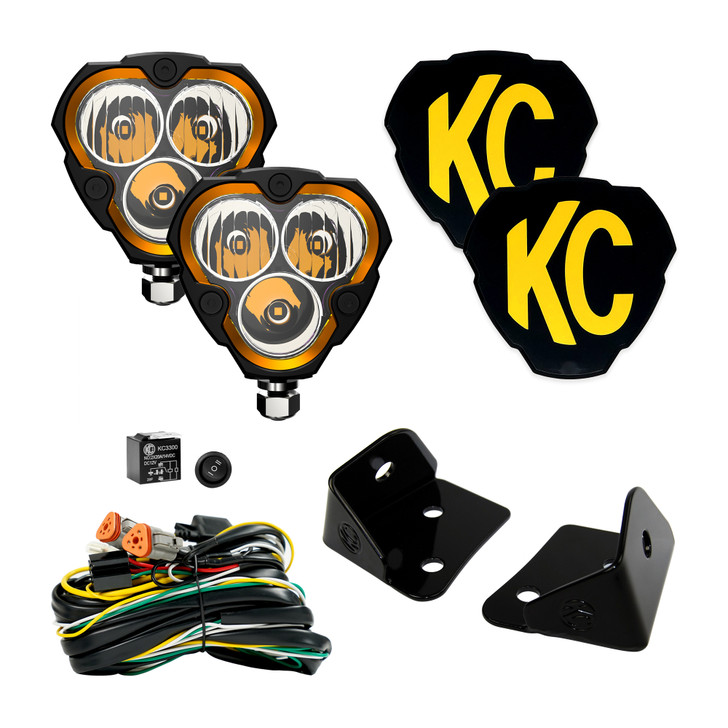 KC HiliTES FLEX ERA™ 3 - 2-Light System - Pillar Mount - 40W Combo Beam - for Jeep JK 97127