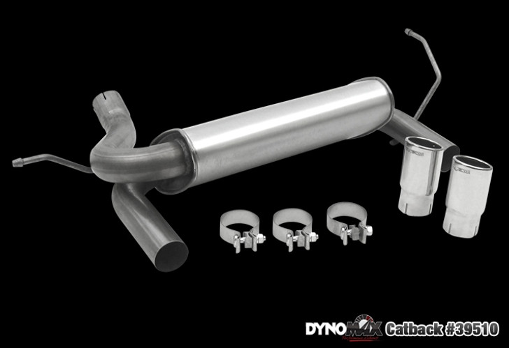 Killer sound - killer price! Dynomax guarantees you'll love the sound. Stainless Steel Super Turbo™ Muffler Assembly 3-in. outlet, single wall, buffed and polished, 5.5-in. OAL SS slant cut tips 2.5-in. SS mandrel pipes Three stainless steel 2.5-in. band clamps Limited Lifetime Warranty 90-Day Performance & Sound Guarantee